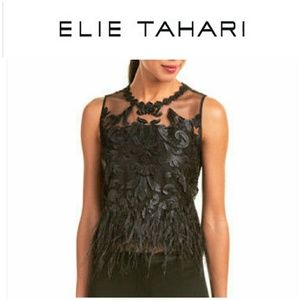 NWOT -Elie Tahari Dakotra Ostrich Feather Top